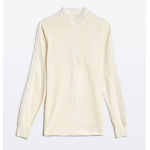 Etcetera Moscato Ivory Lace Trim Blouse